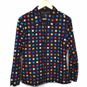Silk Black Jacket Multicolored Geometric Print XL